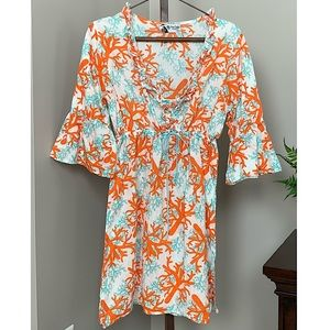 Mud Pie Coral Print Swimsuit Cover Up